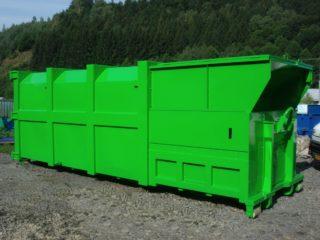 Lisovací kontejner, násypka, zelená barva