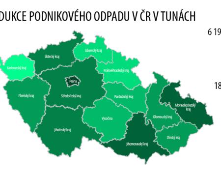 mapa produkce odpadů v ČR
