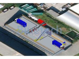 Lisovací kontejner umístěn v třídicí lince