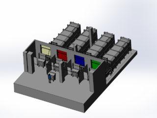 čtyři stacionární lisy s přípojnými kontejnery na různé druhy odpadu
