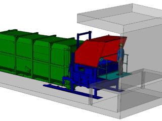 ruční plnění lisovací jednotky z přechodového plechu - rampy
