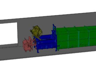 Integrované vyklápěcí zařízení na velké stacionární jednotce