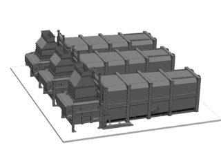 tři stacionární lisy s přípojnými kontejnery