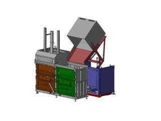 Dvoukomorový balíkovací lis plnění pomocí vyklápěcího zařízení na IBC kontejnery