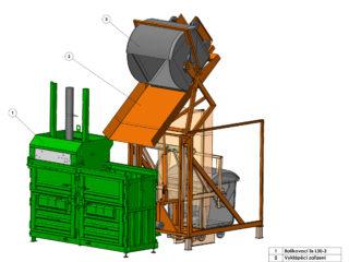 dvoukomorový balíkovací lis s vyklápěním je možné rozšířit ještě o další komory