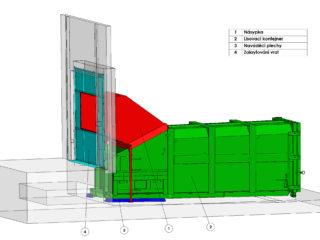 lisovací kontejner plněn pomocí násypky, dokrytování prostoru dvěří