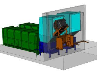 Plnění lisovacích jednotek jedním vyklápěcím zařízením