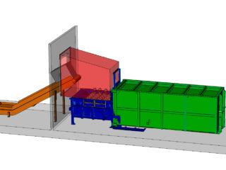 plnění lisu dopravníkem, přípojný kontejner vybaven vyklápěcí střechou pro snadnější vyprazdňování
