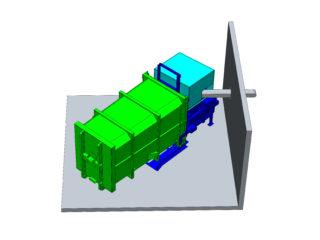 stacionární lis s přípojným kontejnerem