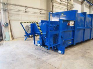 modré Vyklápěcí zařízení na lisovací kontejner LK-K