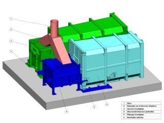 stacionární lis a lisovací kontejner se shozem