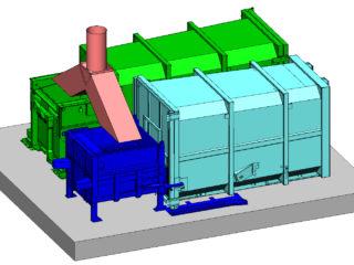 lisovací kontejnery plněné tzv. kalhotamy z jednoho shozu oddělené klapkou dle druhu lisovaného materiálu