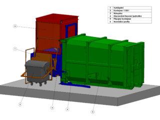 stacionální lis s přípojným kontejnerem. Stacionární lis má pro lepší manipulaci s odpadem boční vyklápění.