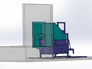 klasické plnění lisovací jednotky uvnitř haly