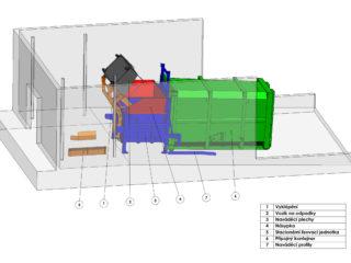 stacionární lis s výklopným vozíkem a přípojným kontejnerem