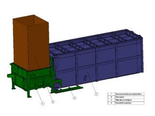 stacionární lis, přípojný kontejner, výrobní sortiment