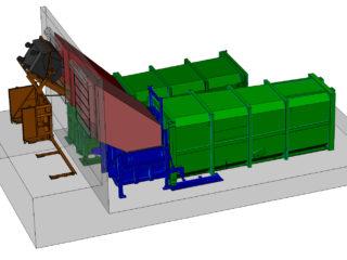 Stacionární lisy plněné posuvným vyklápěcím zařízením přez násypku