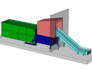 stacionární lis, přípojný kontejner a pásový dopravník