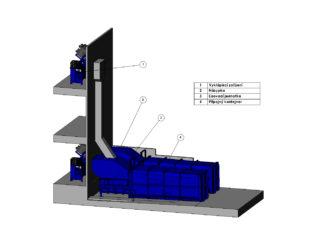 stacionární lis s gravitačním shozem, plnění pomocí vyklápěcího zařízení