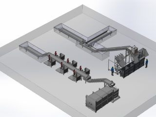 proces třídění odpadu třídící linkou