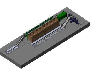 Lisovací kontejner umístěn v třídicí lince společně s horizontálním lisem