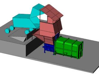 přídavný kontejner a lis s velkou výklopnou