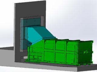 přesun slisovaného odpadu ze stacionárního lisu do přípojného kontejneru