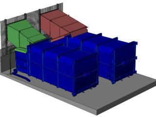 dva lisovací kontejnery plněné násypkou uvnitř haly