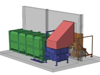 Stacionární lis, přípojný kontejner, vyklápěcí zařízení. Umístění venku, plnění zevnitř budovy