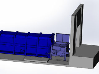 stacionární lis s přípojným kontejnerem vybaven víkem plnícího otvoru