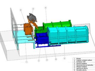 kombinace lisovacího kontejneru se stacionární jednotkou