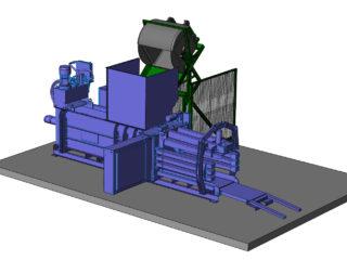 Horizontální lis plněný pomocí vyklápěcího zařízení