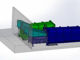 dva přípojné kontejnery k stacionárním lisům pro dva různé druhy odpadu.