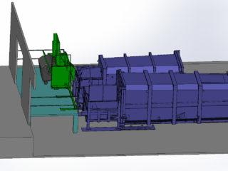 Kombinace stacionárního lisu s lisovacím kontejnerem, plněno z rampy jedním vyklápěcím zařízením přesuvném ve dvou polohách