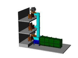 Stacionární lis s možností plnění v každém patře budovy