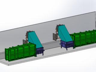 stacionární lis s přípojným kontejnerem a vyklápěním skrz zeď