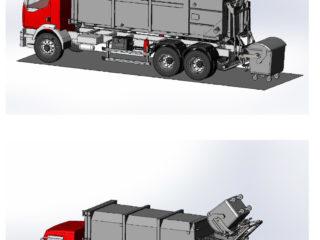 lisovací kontejner úzpůsobený provozu na autě